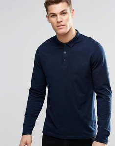 Read more about Asos design long sleeve jersey polo in navy - navy