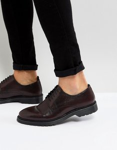 Read more about Asos lace up derby shoes in burgundy perforated leather with ribbed sole - burgundy