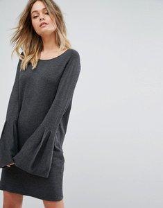 Read more about Vero moda bell sleeve knitted jumper dress - dark grey melange
