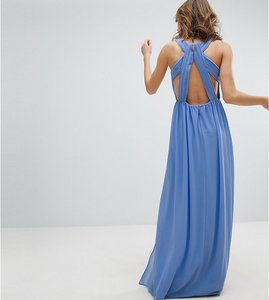 Read more about Tfnc pleated maxi bridesmaid dress with back detail - bluebell