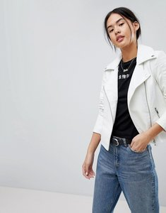 Read more about Noisy may leather look jacket - white