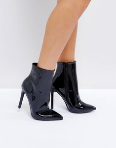 Read more about Public desire harlee high shine black heeled ankle boots - black pat pu