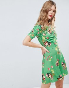 Read more about Asos mini tea dress with rouching detail in green floral print - green floral