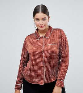 Read more about Missguided plus satin polka dot pj blouse - rust