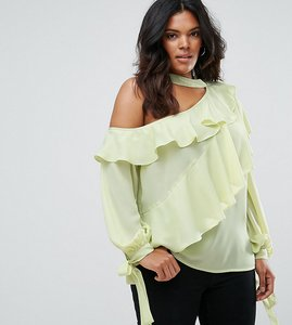 Read more about Asos curve ruffle blouse with exposed shoulder neck band - apple