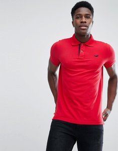 Read more about Hollister polo stretch pique icon logo slim fit in red oxford - red oxford