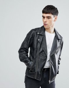 Read more about Selected homme distressed leather biker jacket - black