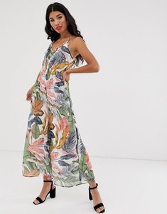 Read more about Asos design soft tropical occasion jumpsuit in tropical print