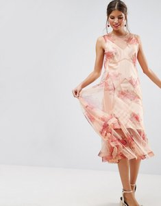Read more about Asos salon mesh floral embroidered godet sheer maxi dress - pink
