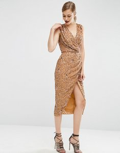 Read more about Asos drape front midi in mesh sequin dress - nude