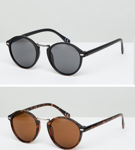 Read more about Asos design round sunglasses 2 pack in black tort save - black