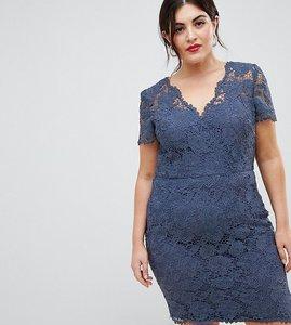 Read more about Chi chi london plus wrap front lace pencil dress - dusky blue