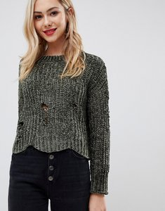 Read more about Stella morgan cropped chenille jumper with distressed hem - khaki