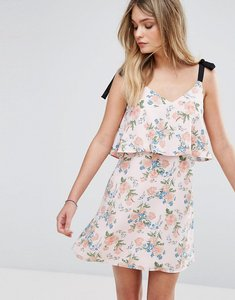 Read more about Miss selfridge tie shoulder floral dress - print