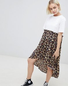 Read more about Asos design mixed print smock dress with hi low hem - leopard print