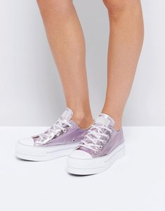 Read more about Converse chuck taylor all star ox platform metallic trainers in pink - pink