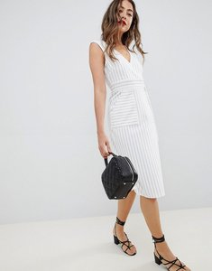 Read more about Asos design stripe wrap dress with d-ring detail - stripe