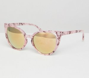 Read more about Asos cat eye sunglasses with cut away corner detail with flash lens - pink