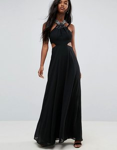 Read more about Asos side cut out embellished trim maxi dress - black
