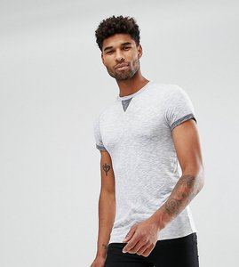 Read more about Asos tall muscle t-shirt with roll sleeve and modesty triangle in interest fabric - grey inject