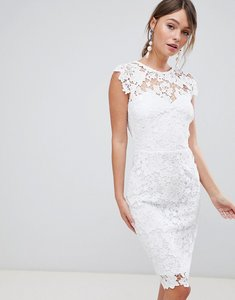 Read more about Paper dolls midi lace dress with scallop back - white