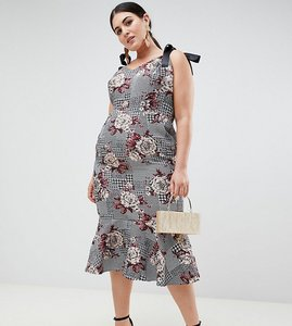 Read more about Asos design curve midi dress with pep hem in check and floral print - multi