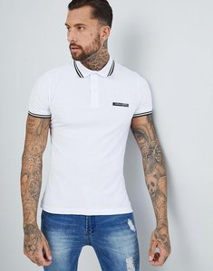 Read more about Versace jeans twin tipped polo shirt in white with logo - white