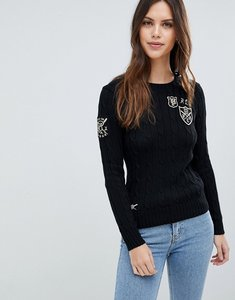 Read more about Polo ralph lauren badge embroidered logo ribbed jumper - black
