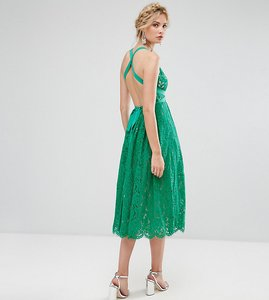 Read more about Asos tall salon lace pinny backless full midi prom dress - multi