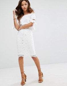 Read more about Moon river lace up edge lace skirt - off white