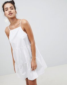Read more about Asos design cotton tiered mini sundress - white