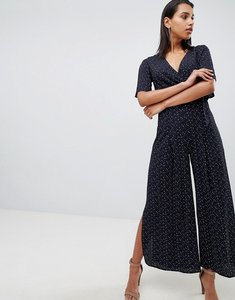 Read more about Parallel lines wrap front wide leg jumpsuit in spot - black spot