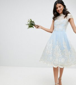 Read more about Chi chi london tall premium lace midi prom dress with bardot neck - bluebell gold