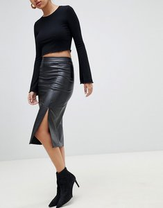 Read more about Fashion union pu pencil skirt with side split - black pu