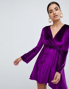 Read more about Club l flute sleeve detail skater dress - purple