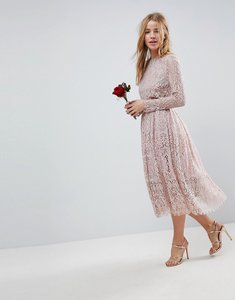 Read more about Asos wedding lace long sleeve midi prom dress - mink