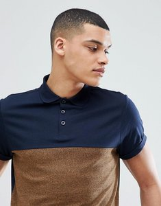 Read more about Asos design polo shirt with contrast yoke and roll sleeve in twisted jersey - navy