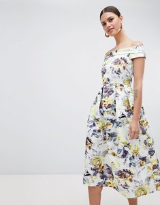 Read more about Closet london bardot floral midi dress - multi