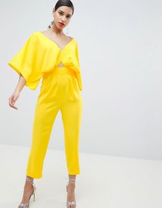 Read more about Asos design jumpsuit with kimono sleeve and peg leg - yellow