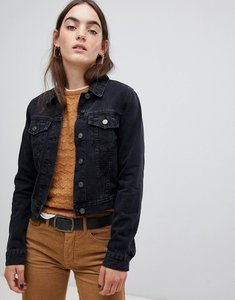 Read more about Asos design denim shrunken jacket in washed black - washed black
