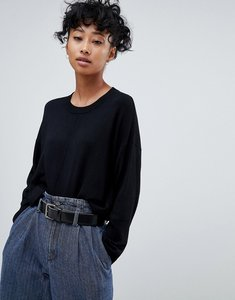 Read more about Asos design oversized jumper with seam detail - black