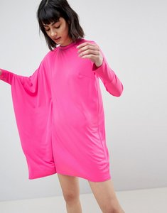 Read more about Asos oversized dress with asymmetric batwing sleeve - hot pink