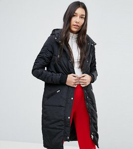 Read more about Noisy may tall hooded padded coat - black