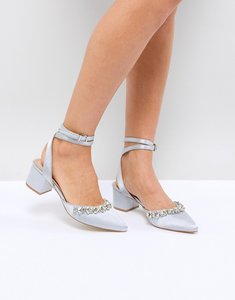 Read more about Be mine bridal saphira grey satin embellished mid heeled shoes - oyster grey