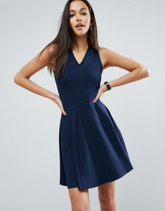Read more about Asos skater dress with asymmetric full skirt dress with v neck - navy