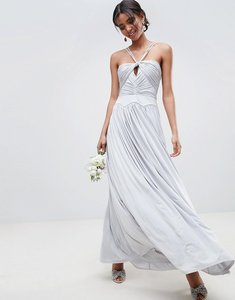 Read more about Asos design bridesmaid ruched cross front maxi dress - ice grey