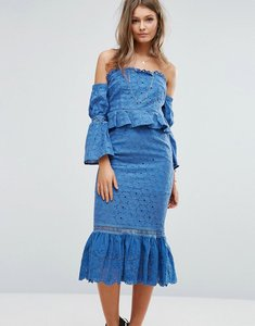 Read more about Foxiedox off the shoulder midi dress with ruffle details - blue
