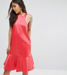 Read more about Y a s studio tall high neck midi dress with fluted hem detail - teaberry