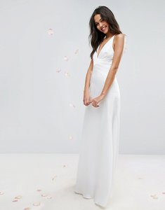 Read more about Asos bridal panelled bodice plunge maxi dress - cream