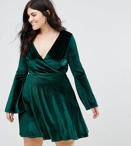 Read more about Club l plus velvet wrap dress with fluted sleeve - dark green